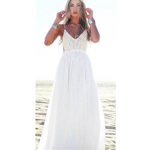 Dresses & Skirts - White Open Back Crochet Maxi Dress
